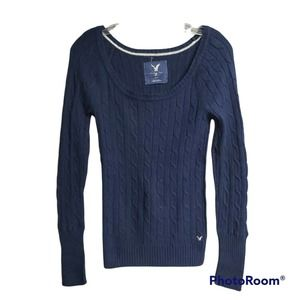 American Eagle Women's Blue Cable Knit Cotton Wool Sweater Size Medium L/S NWOT